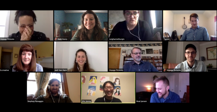 Voyage team collage of staff meeting remotely through Zoom